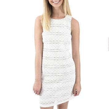 Women's Lace Shift Dress with Stripe Lining