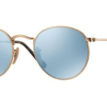 Ray Ban Round Metal Sunglass Gold With Silver Mirrored Rb3447n 001/30 | Best Deal Online