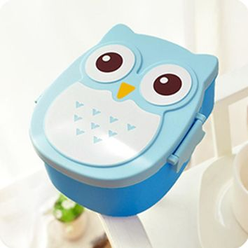 2 Layer Cute Cartoon Owl Lunchbox Kids Children Home $ School Food Fruit Storage Container Plastic Birthday Xmas Gift