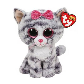 "Ty Beanie Boos Stuffed & Plush Animals Gray Cat With Bow Toy With Tag 6"" 15cm"