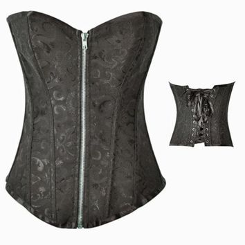 PEAPIX3 Sexy Gothic Victorian Bustier Corset size up to XXXXL Black and White = 1929885636