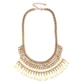 Gold-Tone Metal Creaml Ethnic Cleopatra Necklace