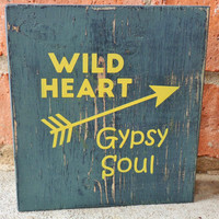 Wild Heart Gypsy Soul, Wood Boho Home Decor Sign, Rustic Wood Sign, Arrow Art, Country Girl Quotes, Inspirational Sign