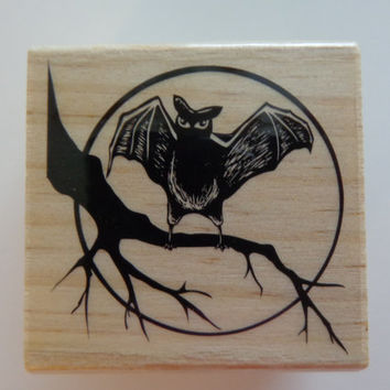 New Bat  Rubber Stamp, Halloween  Rubber Stamp, Wood Mounted Halloween Stamp