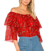 Alice + Olivia Meagan Top in Dainty Daisy