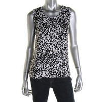 Charter Club Womens Printed Sleeveless Knit Top