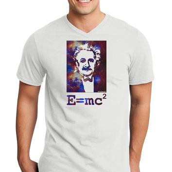 Cosmic Galaxy Einstein - E equals mc2 Adult V-Neck T-shirt by TooLoud