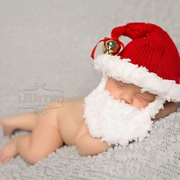 Santa Baby Hat with Beard, Christmas, Photo Prop, Handmade, Knitted, Made to Order, Newborn