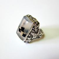 Carved/Etched Sterling Dendrite Agate Ring – Hallmarked