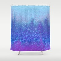 snowing on moon Shower Curtain by Bunny Noir