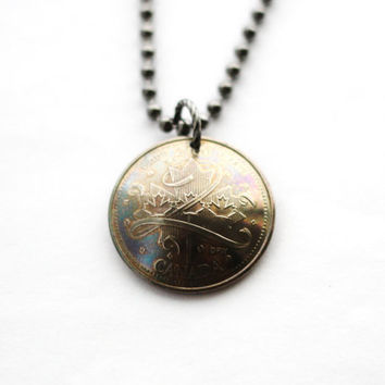 Canadian Coin Necklace, Commemorative Pride Pendant, 25 Cents, 2000,  Upcycled Jewelry by Hendywood