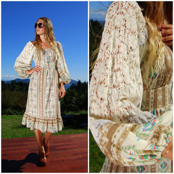 70s Southwestern Dress, Lace Boho Poet Sleeve Prairie Dress Native Ethnic Navajo Midi Dress Peasant Top Cotton Hippie Dress Long Sleeve Maxi