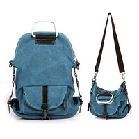 Multi-functional School Canvas Backpack Shoulder Bag