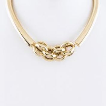 Love Knot Chained Collar Statment Necklace in Gold | Sincerely Sweet Boutique