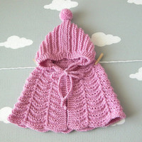 Newborn Girl Cape /  Baby Hand Knit Sweater / Newborn Props / Baby Photo / Custom Hooded Poncho / Made To Order