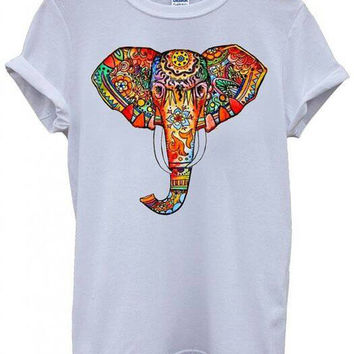 Elephant Head Ethnic Colourful Unisex Tshirt Top