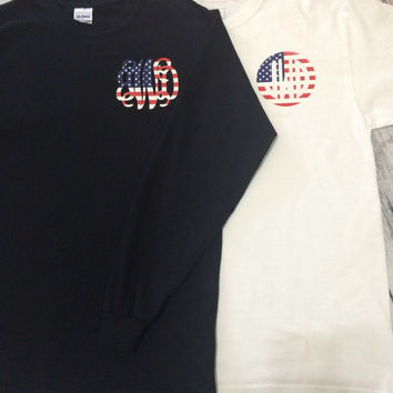 USA American flag monogram shirt