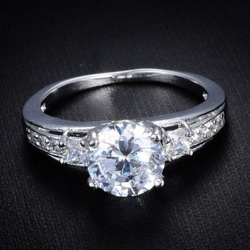 PEAPIX3 18k White Gold Filled Vintage Style White Sapphire Engagement Ring Size 7 8 9 = 1932454596