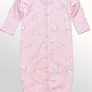 Baby Organic Cotton Convertible Romper with Mittens - Bunny Print