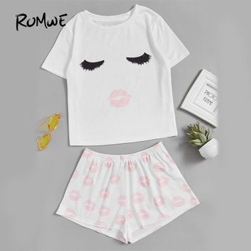 Funny Cute Print White Pajama Set Women Face Print Top And Red Lip Shorts Sleepwear Summer Casual Stretchy Pajama Set