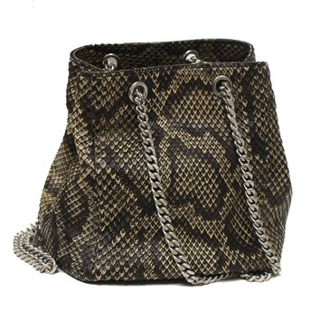 Saint Laurent YSL Emmanuelle Python Leather Bucket Chain Bag 425068 9779 Small