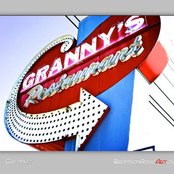 Vintage Sign Photo, Retro Marquee Sign Photo, Kitchen Wall Art, Doo Wop, Housewarming Gifts, Vintage Sign Photo