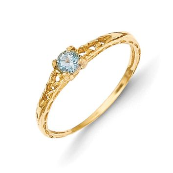 Size 3 14kt Yellow Gold 3mm Genuine Aquamarine Birthstone Girls Ring