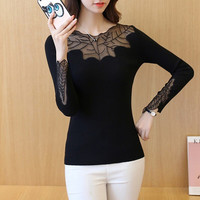 Knitted Sexy Lace Long Sleeve Bottoming Shirt