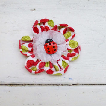 Fabric flower applique, fabric flower for sale, fabric flower for hair clips, fabric flower for brooches, cute flower, red flower, ladybug