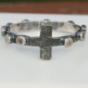 Size 10 Rosary Ring, Sterling Silver Prayer Ring, Cross Ring, Chaplet Ring, Rosary Ring, Rustic Christian Faith Ring,  Maggie McMane Design