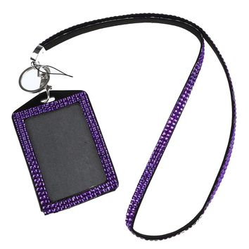 Rhinestone Bling Crystal Custom Lanyard Vertical ID Badge Holder (Purple)