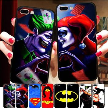 Batman Dark Knight gift Christmas Minason Superman Batman Joker Harley Quinn Best Friends Case BFF Couple Case Cover For iPhone X 8 7 6 6S Plus 5 5S XR XS Max AT_71_6