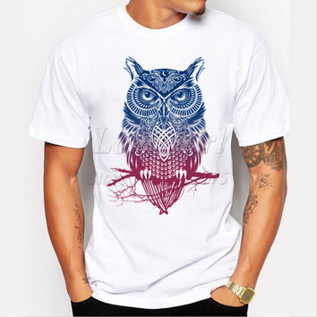 Newest 2017 men's fashion short sleeve night warrior owl printed t-shirts funny tee shirts Hipster O-neck popular tops
