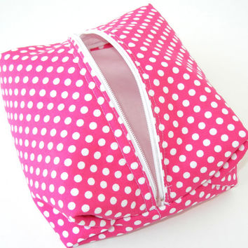 Retro Cosmetic Bag in Pink and White Polka Dot Print: Handmade Bridesmaid Gift, Bridal Shower, Baby Shower, Christmas Stocking Stuffer