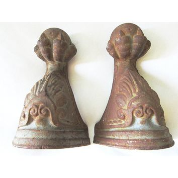 Architectural Rustic Cast Iron Ball Claw Bookends Decorative Elements