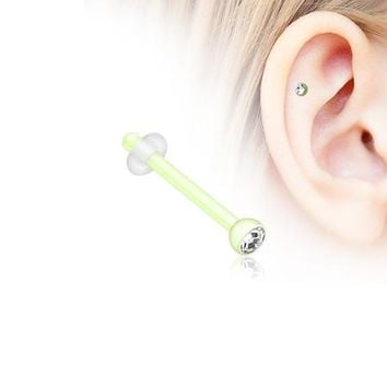 Bio Flexible Press Fit Gem Piercing Stud with O-Rings