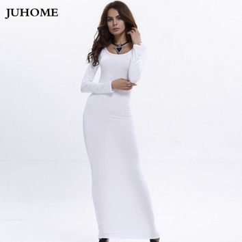 2018 Womens autumn winter white dress Elegant Vintage Pinup long Sleeve Casual Party Fit Bodycon Pencil Floor-Length Maxi Dress
