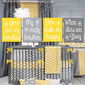 YELLOW GRAY You Are My Sunshine Purple Wall Art Girl Artwork Nursery Rhyme Quote Baby Song Set of 4 Prints Baby Crib Decor