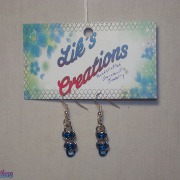 Hand Crafted Chainmaille Earrings - Barrels (Silver + color)