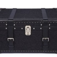 One Kings Lane - Chalet Chic - Black Wool & Leather Steamer Trunk