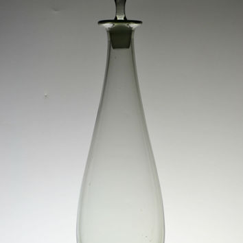 Tall Smoky Grey Glass Wine Decanter Vintage English circa 1970