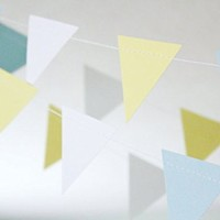 Triangle Hanging Decoration String Paper Garland (2m Long) Wedding Birthday Party Baby Shower Table Decoration- Blue, Yellow & White