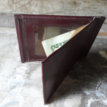 Mens Wallet, Leather Wallet, Bi Fold, Dead Stock, Vintage, Money Clip, Maroon, Credit Card Holder, Retro, Men's Wallet, All Vintage Man