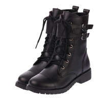 Boots  Flat Heels Shoes Woman Round Toe Ankle Boots Sexy Ladies Motorcycle Riding Boots Shoes Size 35-39