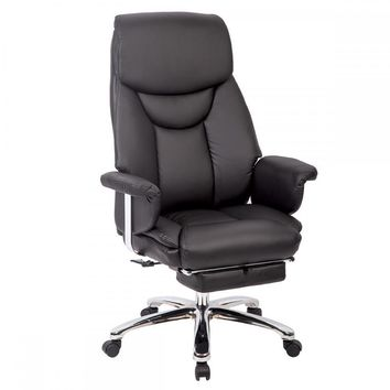 Recliner Office Chair PU High Back Racing Executive Chair Desk Chair Black RP50