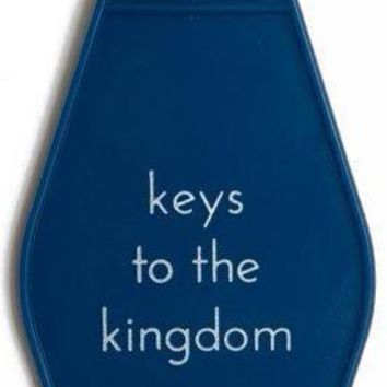 Keys To The Kingdom Hotel/Motel Style Keychain in Navy Blue and White
