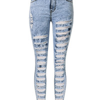 Light Blue High Waist Ripped Denim Jeans