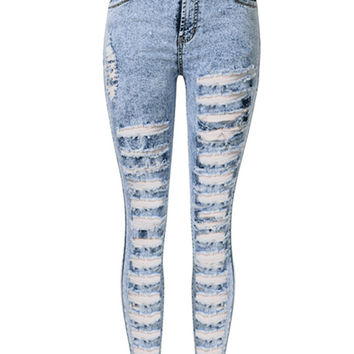 Light Blue High Waist Extreme Distressing Ripped Skinny Jeans