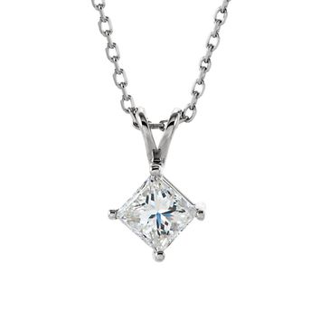 3/8 Ct Princess Diamond Solitaire Necklace in 14k White Gold, 18 Inch