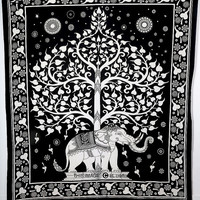 LARGE / Small tree elephant tapestry, bohemian bedspread,indian bedspread,hippy throw, beach throw, dorm tapestry,room divider,wall hanging